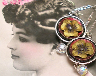"Pansy BUTTON earrings, Victorian Flowers on silver. 1.75"" Antique button jewellery. Unique present, gift."