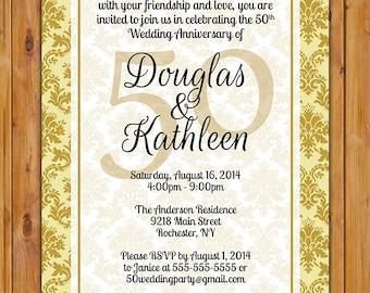 50th Wedding Anniversary Gold Damask Milestone Invitation Dinner Party Invite Printable 5x7 JPG Digital Invite (261)