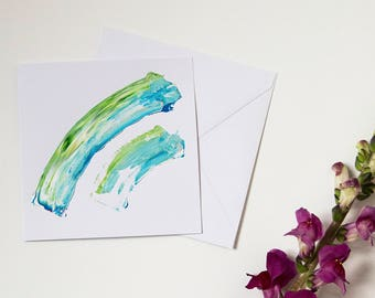 Hand Painted Greeting Card / Sea Dash Abstract / Blank Card