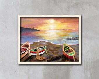 Sunrise Art Print, Sunrise Print, Seascape Art Print, Seascape Art, Sunrise painting, Art Print, Ocean Art, Beach Art, Boats, APIRO PRINTS