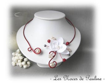 Red and white bridal Orchid Anais