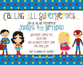 Super heroes Birthday Invitations - 1.00 each with envelope