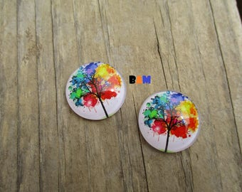 Set of two cabochons 25mm Rainbow tree