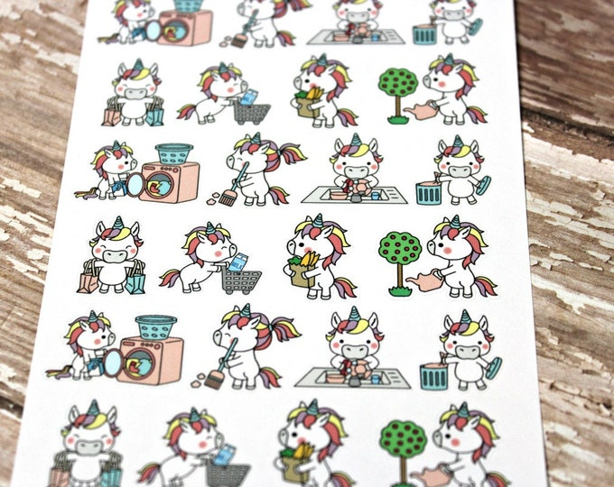 Unicorn Stickers - Unicorn Planner Stickers - Character Stickers - Chore stickers - Laundry Unicorn - Gardening Unicorn  - Sweep Unicorn
