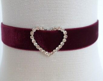 wine velvet choker, crystal heart choker, stretch ribbon