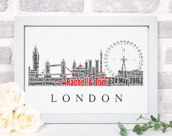 Personalised London Skyline Destination Engagement Framed Word Art Cloud Wedding Gift For Couples