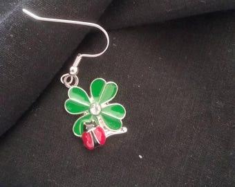 Men's St. Patrick's Day Earring, Enameled Four Leaf Clover Earring, Men's Earring, St. Patrick's Day Jewelry