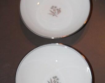 2 Vintage Noritake China Soup Bowls,floral design, silver trim lines, marked Bessie, elegant