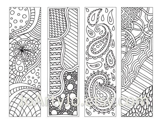 Zentangle Inspired Bookmarks Printable Coloring Digital