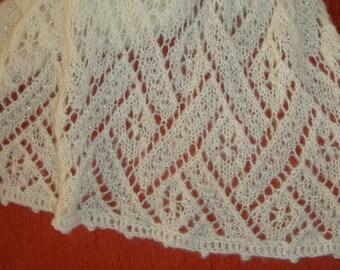 ivory hand knitted shawl, Estonian lace shawl, white shawl wrap, wedding shawl, shawl with beads