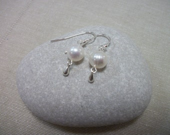 White Fresh Water Pearl and Sterling Silver Earrings