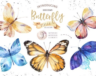 Watercolor butterfly DIY. Wedding Clip art collection. Individual PNG files. Hand Painted rustic bohemian clipart.