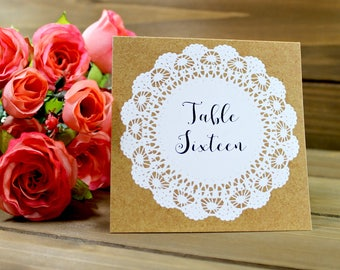 Rustic Table Number, Kraft Table Number, Lace Wedding, Rustic Wedding, Kraft Wedding, Tented Table Number, Table Number Tent (01-0001-010)