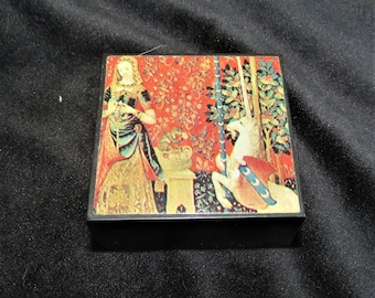 Set of Nesting Trinket Boxes Large Box is 2 Inches Square and 4  Inner Nesting Boxes are Just Under 1/2 inch Square Asian Motif Resin Boxes