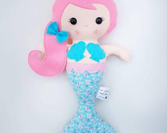 Personalised Handmade mermaid doll mermaid fabric doll gifts for girls little girls gift ideas for girls under the sea rag doll ce tested