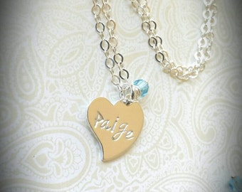 Personalized Heart Shaped Name Necklace with Crystal or Birthstone of Choice, Gift for Daughter, Gift for Young Girl, Gift for Niece