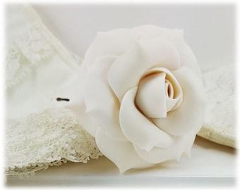 White Rose Hair Clip Pin - White Rose Hair Flower, White Flower Hair Pin, White Rose Wedding Hair Accessories