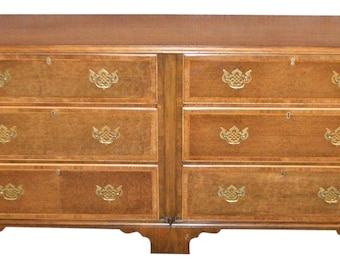 Vintage Baker Banded Inlaid Four Drawer Home Office Credenza w/Two File Drawers