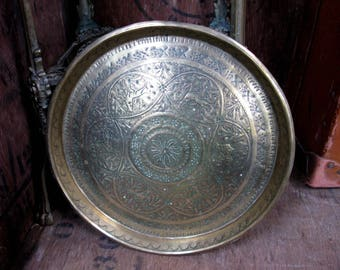 Engraved Brass Tray, Ornate Brass Tray, Round Brass Tray, Drinks Tray, Decorative Tray, Serving Tray, Vintage Brass, Vintage Brassware
