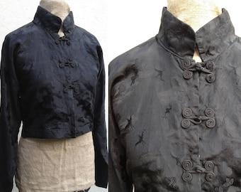Vintage Edwardian 1920s 1930s Oriental black silk jacket blouse