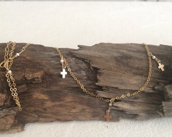 Gold, Delicate, Cross, Religious, Necklace