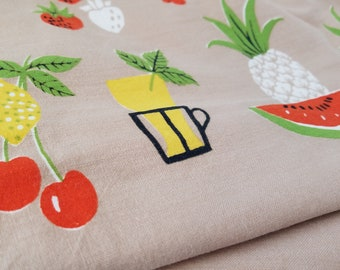 Vintage Tablecloth Cocktails Midcentury Fruit Strawberries Pineapple Brown Yellow Red Rectangular