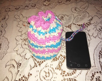 Pastel Multicolor Drawstring Bag with Pink and Blue Stripes