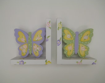 Personalized Butterfly bookends,lavender,light green,yellow,pastel,girls bookends,kids bookends,children's bookends, baby's bookends,