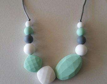 Silicone Teething Necklace, White, Mint Green, Gray, Nursing Necklace, Sensory Beads, Teething Beads, Fidget Jewelry, autism, anxiety