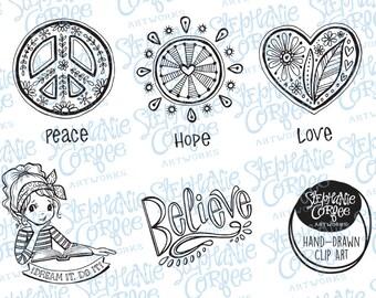 Dream It. Do It - B&W Digital Stamp/ Clip Art Download