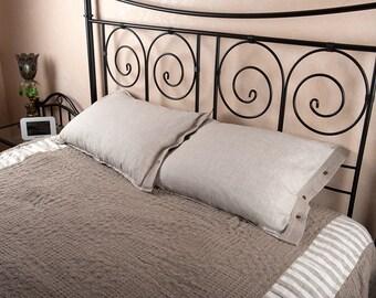 Mix-Natural linen pillowcase  with snaps. Linen pillow cover. Linen sham.