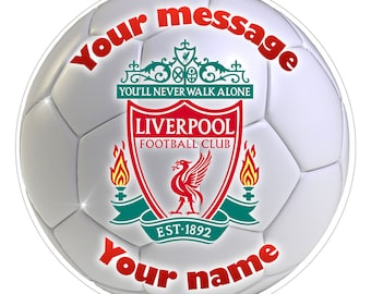 """FC LIVERPOOL Inspired  Personalised Party Cake Topper Edible print on icing 7.5"""""""