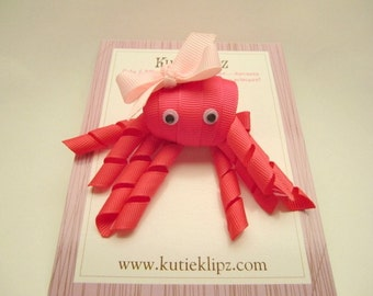 SALE - Penelope the Hot Pink Octopus - Ribbon Sculpture Hair Clip - Hair Accessory - Hairbow