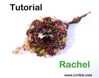 Rachel Rivoli-SuperDuo Beadwork Earrings-Pendant PDF Tutorial