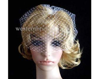 Sparkles of Joy.  White OR Ivory Bridal Weding Rusian Net Birdcage Veil