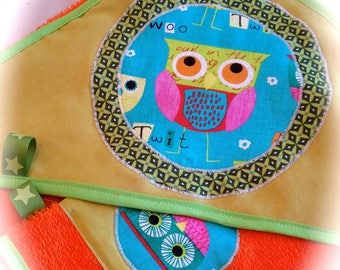 bathrobe and matching glove personalized OWL boy or girl
