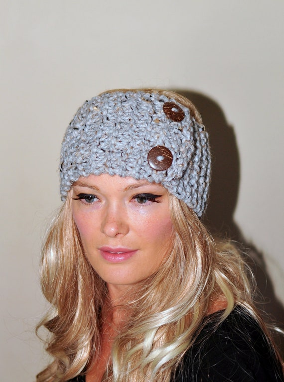 Items Similar To Earwarmer Buttons Winter Wool Crochet