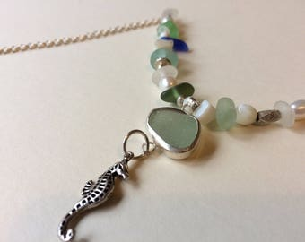 Pearl Sea Glass Agate Pebble Seahorse Sterling Silver Necklace OOAK