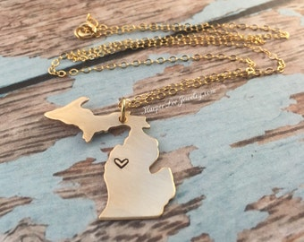 Michigan State Hand Stamped Gold ~ Bronze ~ Pendant Charm Necklace ~ MI Jewelry ~ Great Lakes Necklace ~ State Pride ~ HarperLeeJewelry ~HLJ