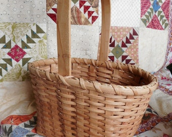 Signed and Dated Handmade Handled Basket