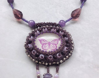 Bead Embroidered Ameythis Purple Butterfly Necklace