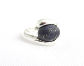 Silver ring 925 cabochon oval lapis lazuli T 60