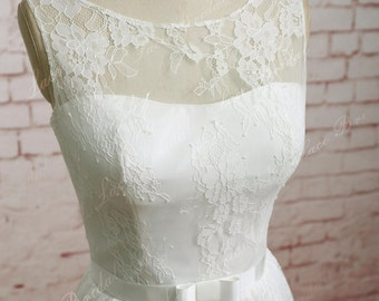 Ivory A Line Soft Full Lace Wedding Dress with Waistband