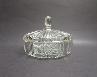 Vintage Clear Glass Lidded Candy Dish (E6817)