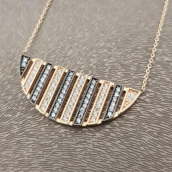 Geometric Necklace 14k Gold GiftHalf Circle PendantDelicate