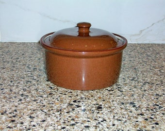 Weller Brown Glazed Redware Pottery Casserole dish  with lid  Vintage 1920 or 30s