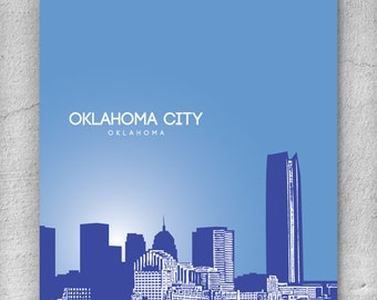 Oklahoma City Skyline Art Poster / Modern Home Wall Art / Choose your colors