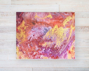 """Varnished acrylic Pouring painting technique//abstract pouring art//""""The Fall"""" 40 x 50 cm on canvas"""