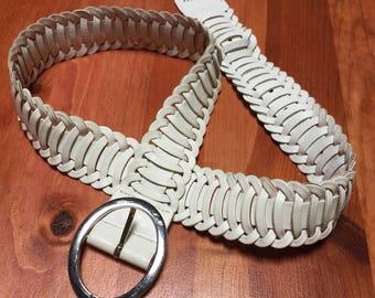 Vintage 90's - Cuir Collé - White Leather Braided Belt