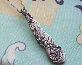 "Fish Pendant Necklace Sterling Silver Beautiful With Matching Long 28"" Chain Incredible Detail Great For Pisces And Fish Collectors"